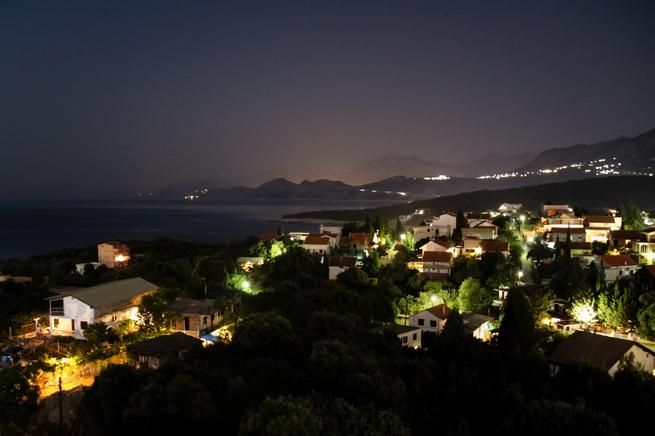 Romantic night on terrace of apartment for rent Utjeha Montenegro Mediterranean Europe