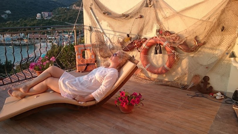 Relax time on Terrace of apartment for rent with amazing sea view Utjeha Montenegro