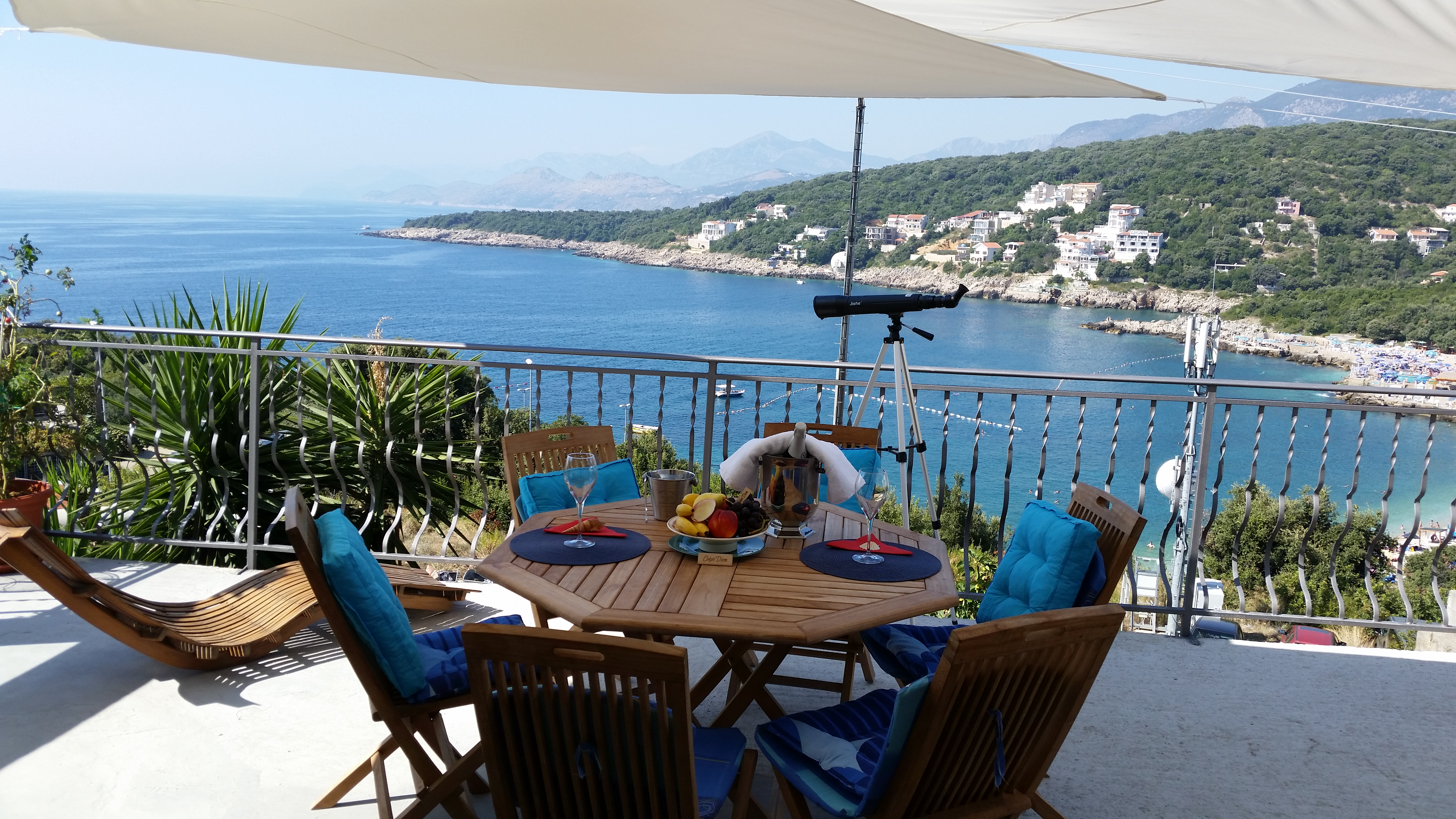 Terrace of apartment for rent with amazing sea view Utjeha Montenegro